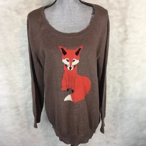 Old Navy Fox Print Pullover Sweater Long Sleeve